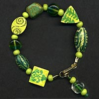 Green Rubber Stamped Bead Bracelet