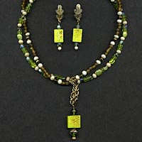 Lime Green Necklace and Earrings