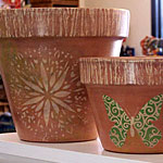 Decorate a Terra Cotta Plant Pot with Acrylic Paint and Stencils